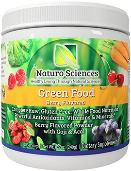 Greens Powder Complete Raw Whole Green Food Nutrition Plus Spirulina, Super Antioxidants, Vitamins, Minerals Amazing Berry Flavor 8.5oz (240g)... by Naturo Sciences