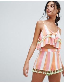 River Island Multi Stripe Tassel Detail Beach Cami Top by River Island