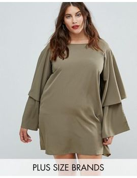 Ax Paris Plus Tiered Sleeve Dress by Plus Size Dress