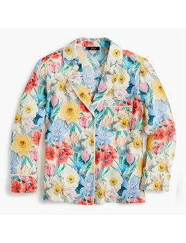 Silk Pajama Shirt In Liberty® Melody Floral by Silk Pajama Shirt In Liberty