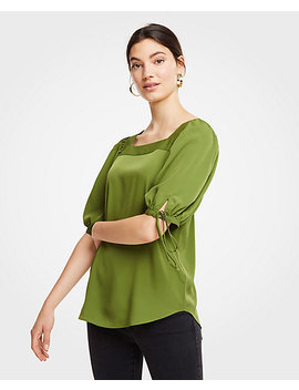 Square Neck Tie Sleeve Blouse by Ann Taylor