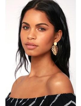 Monstera Magic Gold Leaf Earrings by Lulus