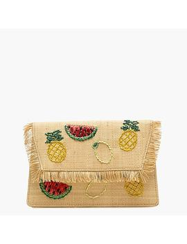Convertible Raffia Clutch In Fruit Salad by J.Crew