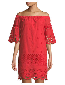 Off The Shoulder Eyelet Embroidered Dress by Neiman Marcus