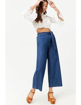 Wide Leg Denim Trousers by Forever 21
