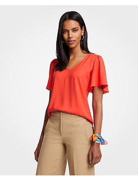 V Neck Flutter Sleeve Top by Ann Taylor