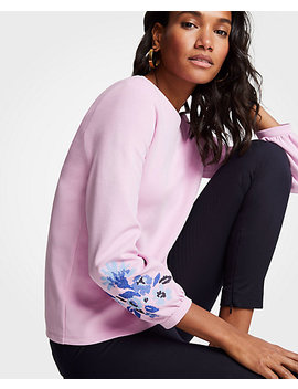 Embroidered Floral Sleeve Sweatshirt by Ann Taylor