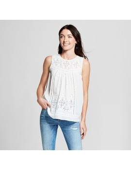 Women's Eyelet Knit To Woven Tank   Knox Rose™ White by Knox Rose™