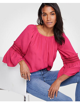 Smocked Flare Sleeve Blouse by Ann Taylor