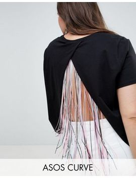 Asos Design Curve T Shirt With Wrap Fringe Back In Black by Asos Design