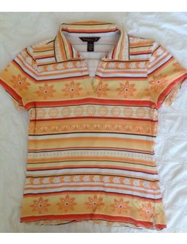Tommy Bahama Cotton Blend Knit Orange Flower Print Golf Shirt Top S by Tommy Bahama