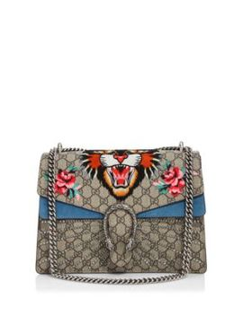 Medium Dionysus Embroidered Angry Cat Gg Supreme Shoulder Bag by Gucci