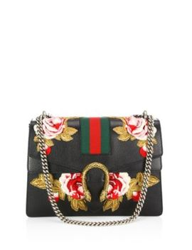Dionysus Rose Embroidered Leather Shoulder Bag by Gucci