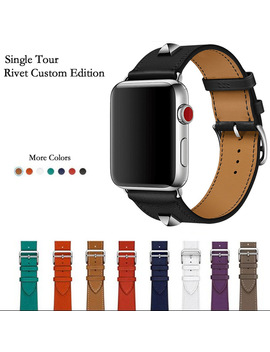 Newest Genuine Leather Rivet Custom Edition Single Tour Watch Band Strap For Herm Apple Watch Series 1 2 3 Iwatch 38 42mm  by Akgleader