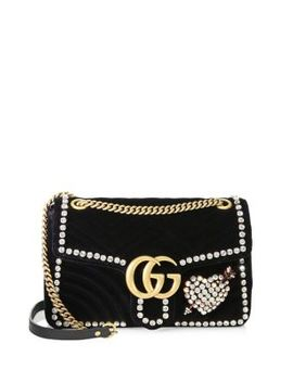 Gg Marmont Crystal Applique Velvet Bag by Gucci