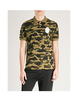 Camouflage Print Cotton Piqué Polo Top by A Bathing Ape
