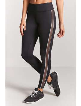 Active Mesh Panel Stripe Leggings by F21 Contemporary