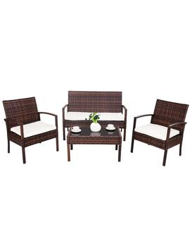 Costway 4 Pc Rattan Patio Furniture Set Garden Lawn Sofa Wicker Cushioned Seat Brown by Generic