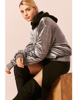 Velvet Hooded Padded Bomber Jacket by F21 Contemporary