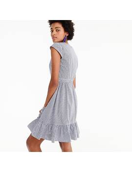 Faux Wrap Mini Dress In Gingham Cotton Poplin by J.Crew