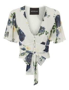 Floral Short Sleeved Tie Waist Top by Nicholas