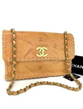 Rare Vintage Chanel Maxi Jumbo 33 Logos Xl Vachetta Leather Shoulder Bag /Q843 by Chanel
