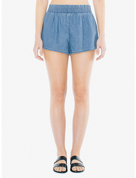 denim-smocked-short by american-apparel
