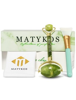 Matykos Premium Jade Roller For Face And Body | Hand Made Double Neck Genuine Massage Tool Made From Certificated Xiuyan Jade Stones | Bonus Silicone... by Matykos