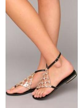 Walk The Rhinestone Sandal   Black by Fashion Nova