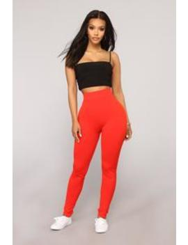 Underneath Everything Layering Leggings   Red by Fashion Nova