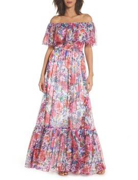 Paola Floral Off The Shoulder Gown by Tadashi Shoji