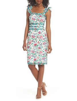 Ximena Embroidered Sheath Dress by Tadashi Shoji