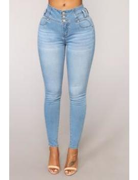 Trophy Booty Lifting Jeans   Light Blue Wash by Fashion Nova