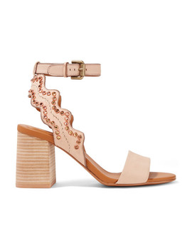 Crystal Embellished Scalloped Leather Sandals by See By Chloé