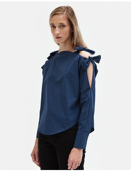 Tie Sleeve Top In Navy by Need Supply Co.