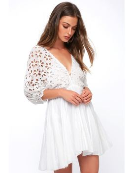 Bella Note White Eyelet Mini Dress by Free People