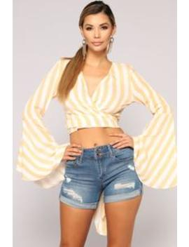 Dancing In Tulum Long Sleeve Top   Mustard/Combo by Fashion Nova