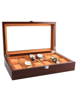 Watch Cases For Men 12 Slots Solid Wood Storage Organizer Display Box Large Holder Exquisite And Durable by Jin Di Long