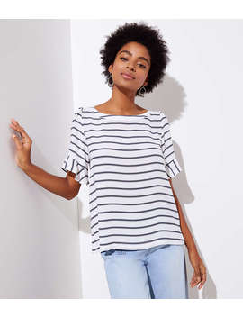 Striped Ruffle Cuff Top by Loft