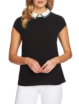 Embellished Collared Top by Cece