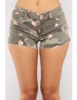 Mighty Chick Denim Camo Shorts   Camo by Fashion Nova