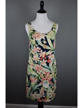 Tommy Bahama Navy Blue Multicolored Floral Sleeveless Short Shift Dress Size 0 by Tommy Bahama