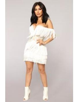 Coco Fringe Dress   White by Fashion Nova
