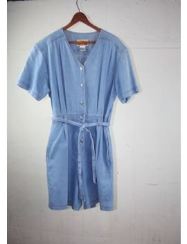 Vtg 90s Womans Romper Jumpsuit Overall Jumper, Denim Blue Jean Shortalls Shorts by Susquehenna Trail Outfitters