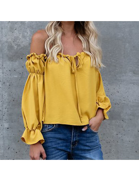 New Femme Summer Chiffon Blouses Shirts Sexy Slash Neck Puff Sleeve Shirts Kawaii Solid Boho Blusa Shirt Loose Women  Tops Gv423 by Smile Fish