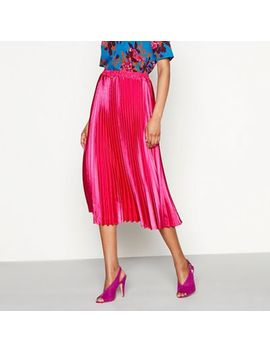 Yas   Bright Pink Pleated Plisse 'karen' Midi Skirt by Yas