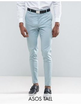 Asos Tall Wedding Skinny Suit Pant In Light Blue Stretch Cotton by Asos