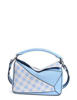 Puzzle Gingham Calfskin Leather Bag by Loewe
