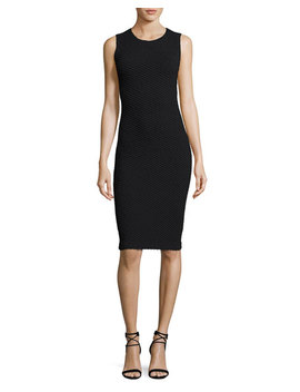 Diagonal Jacquard Sleeveless Sheath Dress, Black by Armani Collezioni