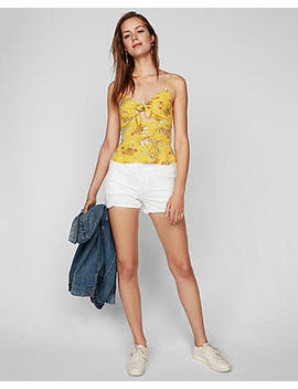 Floral Tie Front Cut Out Cami by Express